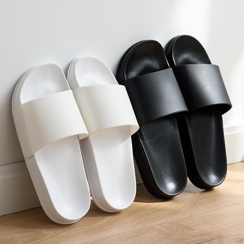 Summer Men Slippers Casual Black and White Shoes Non-slip Slides Bathroom Sandals Soft Sole Flip Flops large size 47 Man Gift