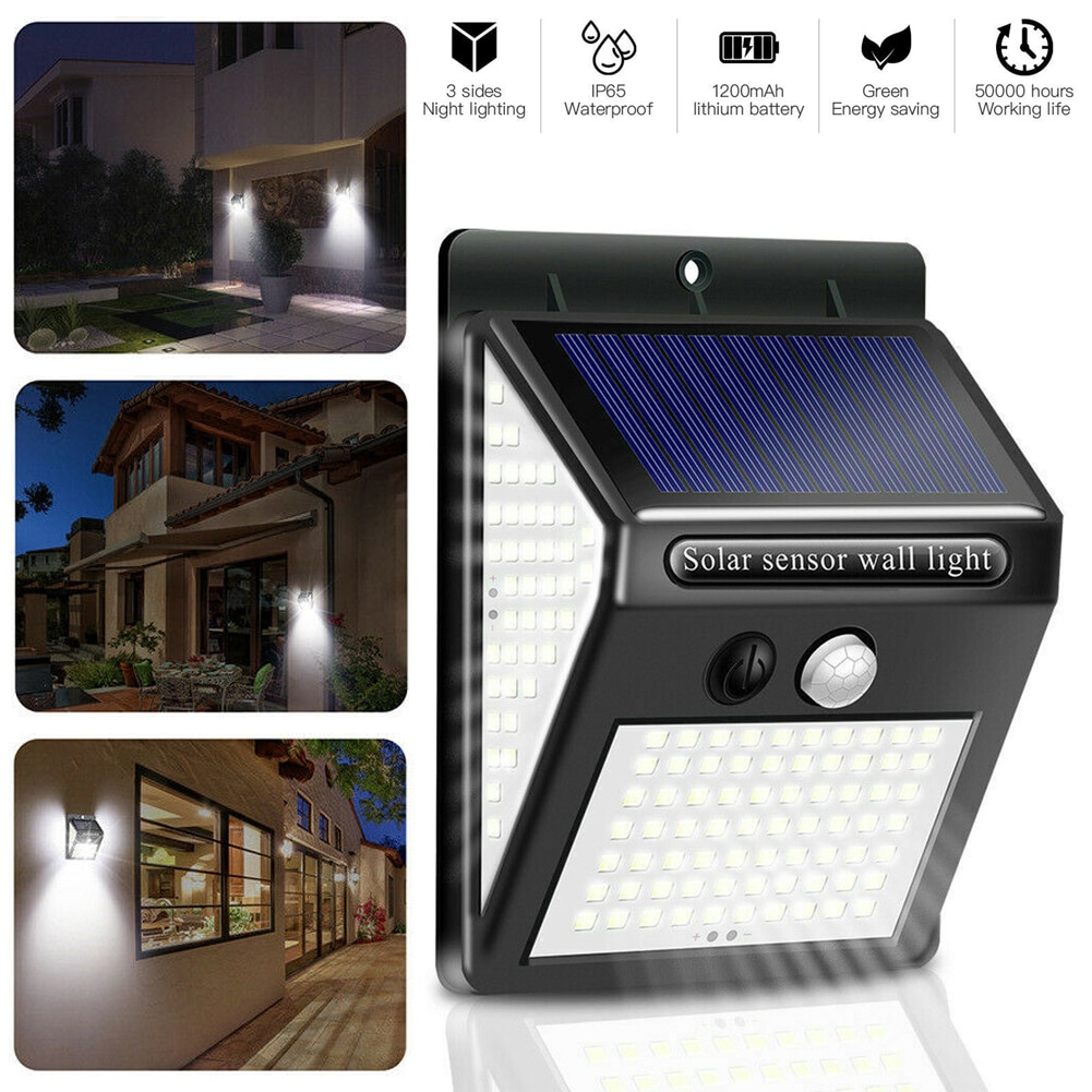 LED Outdoor Solar Light PIR Motion Sensor Wall Powered Waterproof Garden Emergency Lamp