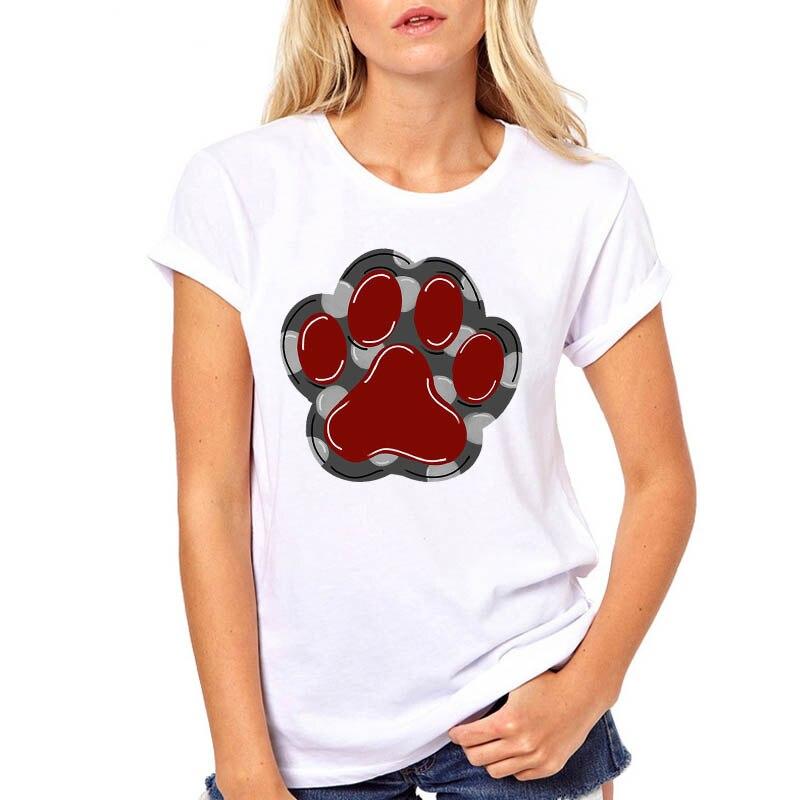 Cute Foot Floral Pet Fashion Clothe Printed Woman Harajuku Punk Top Tee Shirt T Female TShirt Women Never Walk Alone Dog Paw