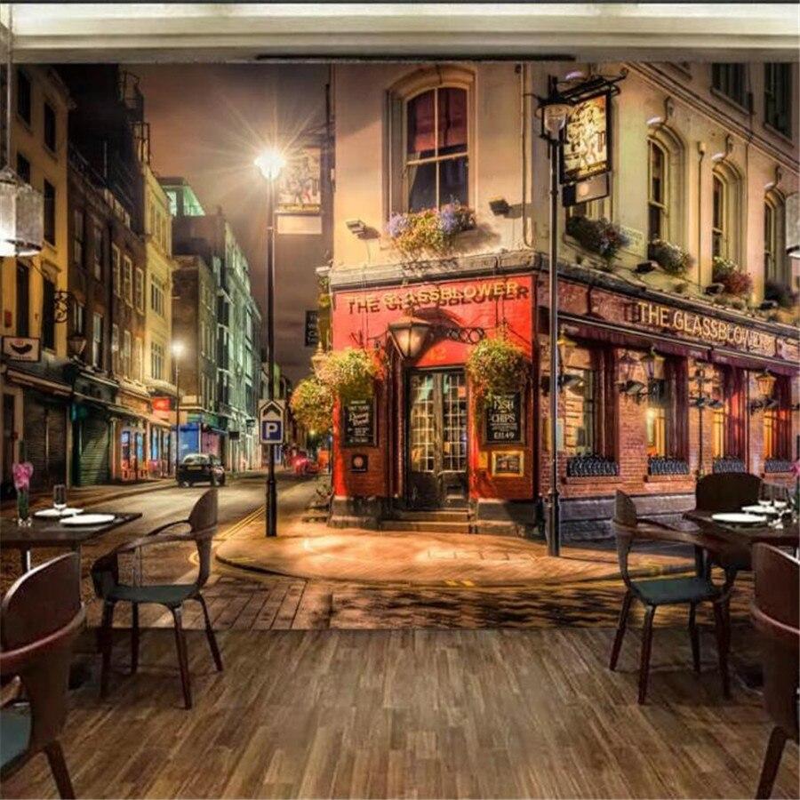 Пользовательские обои wellyu, 3d фрески, красивые теплые огни, угловой магазин, бар, кафе, фон для стены, гостиной, спальни, декоративные обои