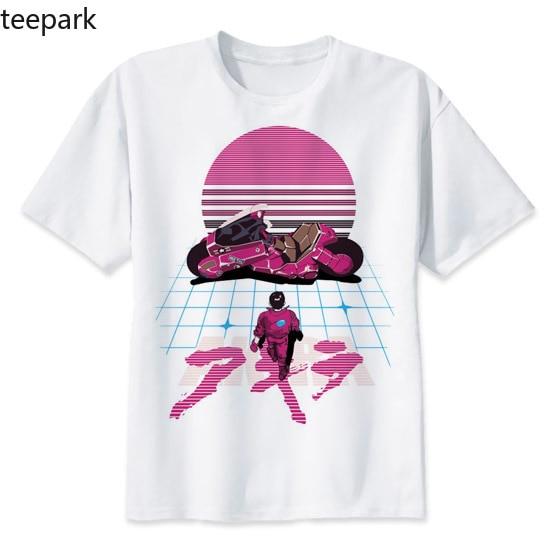 Белая мужская футболка с короткими рукавами, Akira Synthwave, аниме стиль Харадзюку, Повседневная футболка, удобная уличная Футболка с принтом