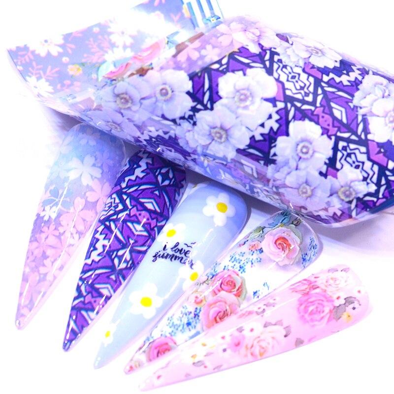 10 шт., лазерная розовая Золотая матовая металлическая фольга, голографические наклейки для ногтей, цветок, звездное небо, фольга для ногтей, ...