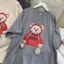 T-shirt women's cotton half sleeve round neck 2021 new Korean Kawaii cute bear blouse Harajuku carto