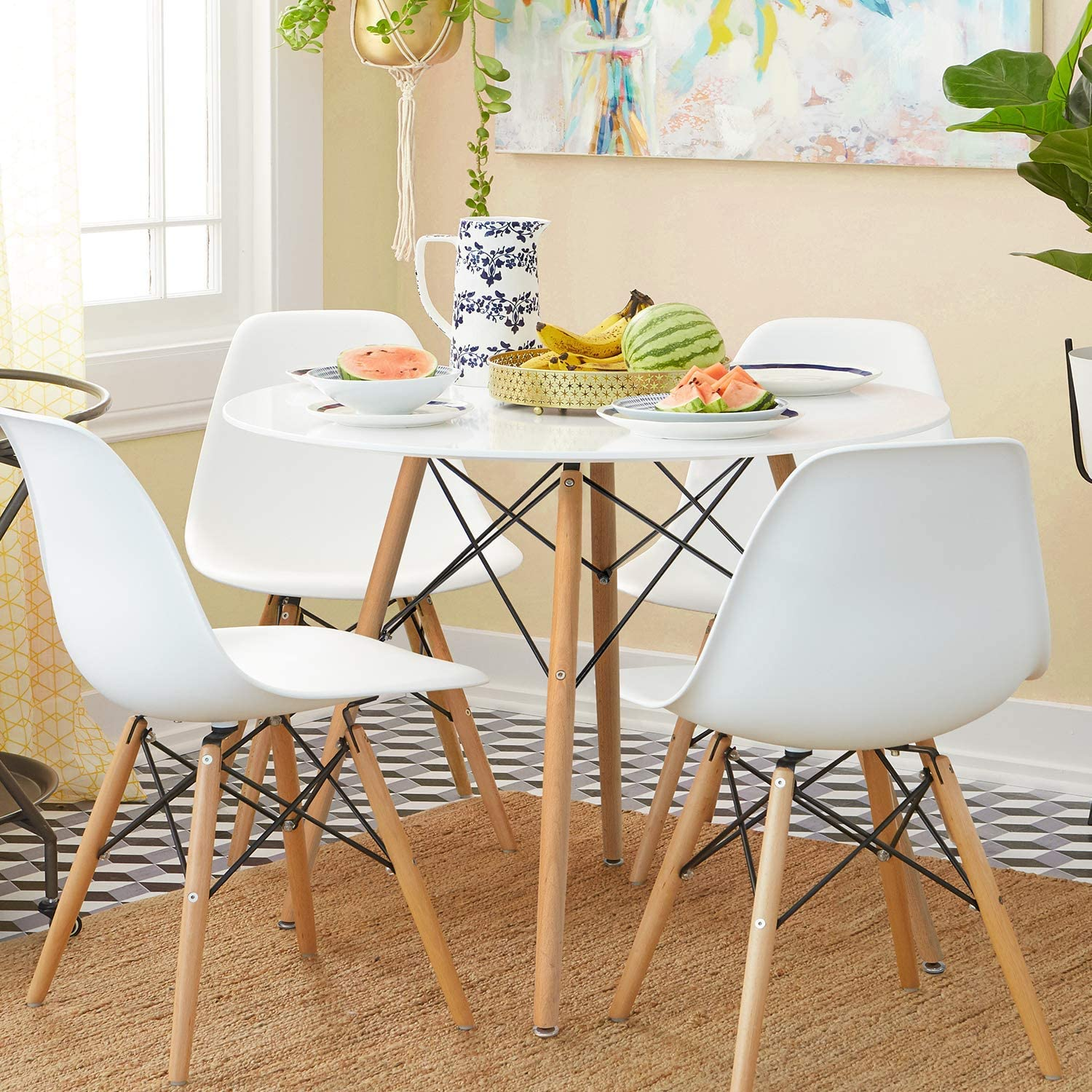 Furgle Modern Coffee Table Round Dining Table White Pedestal Tables Coffee Table Eiffel Mid-Century Modern Style for Living Room