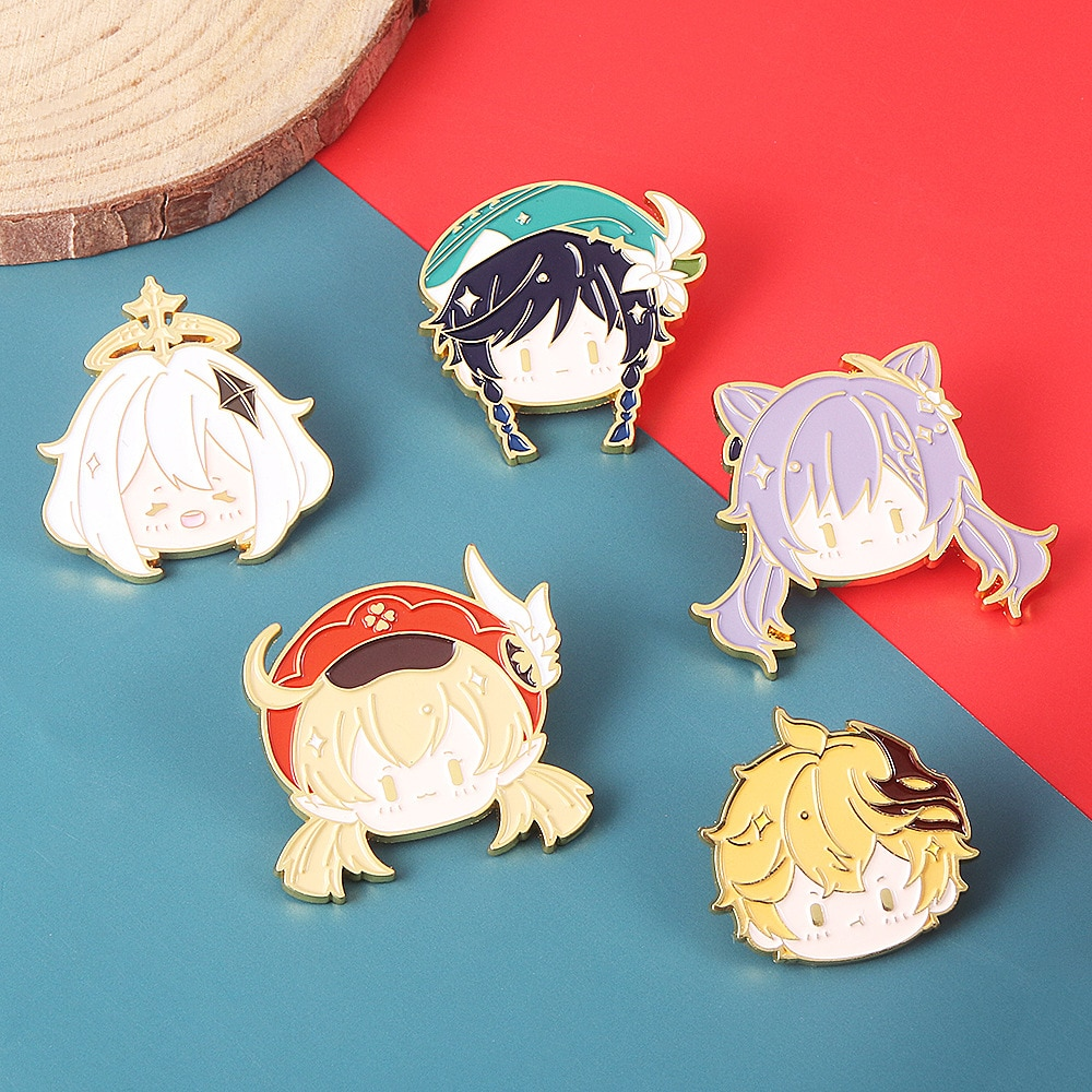 Free Shipping Anime Online Game Genshin Impact Brooch Pin Cosplay Badge Accessories For Clothe Backpack Decoration gift Keychain