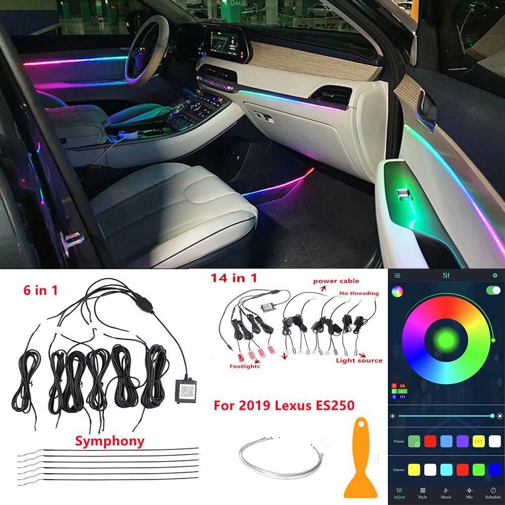 20 في 1 سيمفونية سيارة أضواء المحيطة RGB سيارة الداخلية الاكريليك ضوء دليل الألياف البصرية ل لكزس ES250 الزخرفية مصباح لتهيئة الجو