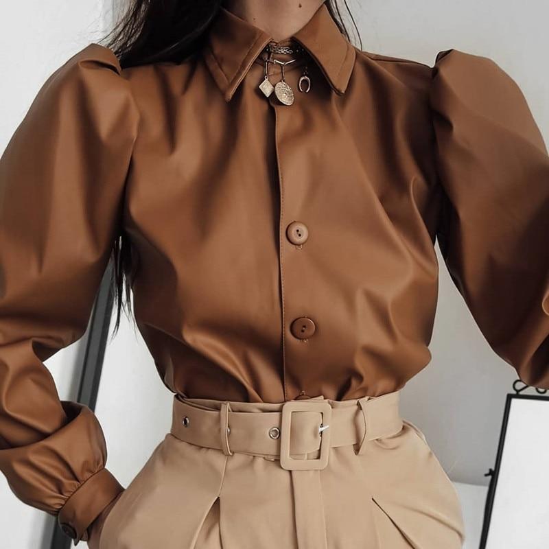 aliexpress.com - Waatfaak Autumn Leather Blouse Women Long Sleeve Puff Blouse Vintage Shirt Ladies 2019 Winter Casual Fashion Turn-down Collar