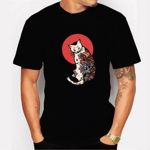 New Summer Anime Cat T Shirt Men Japanese Anime Cotton Tshirt Men's Loose Casual Top Tee Male Clothes Gym Tee Shirt Homme 3xl