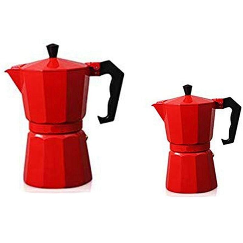 2 قطعة الألومنيوم موكا إبريق قهوة صانع القهوة الإيطالية غلاية قهوة Stovetop Percolator اسبريسو وعاء 300 مللي و 150 مللي