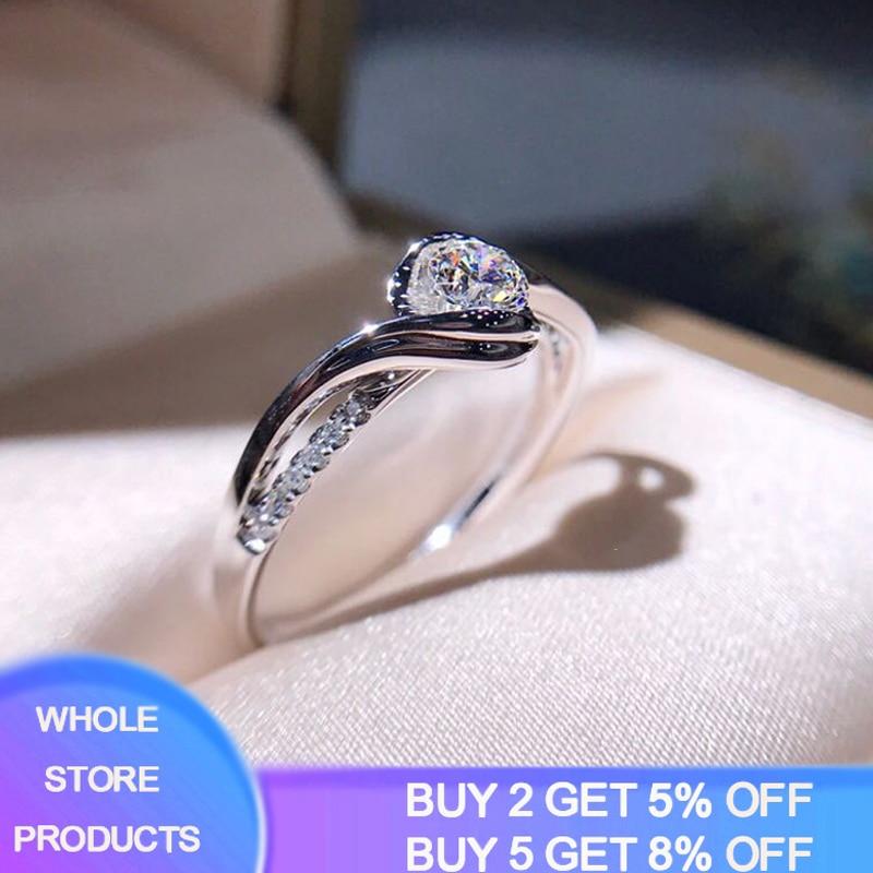 Clássico anel de noivado aaa branco zircão cúbico feminino super flash strass banda casamento cz anéis prata 925 jóias r321