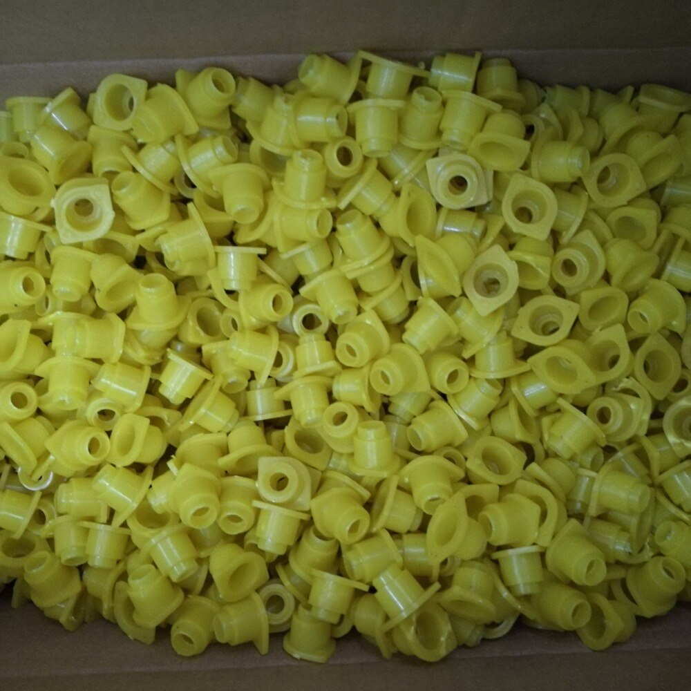 500/1000pcsbee تربية النحل قفص ملكي اكسسوارات الأصفر الركيزة الحرس Longwall درع غطاء قفص ملكي النحل أدوات 500 قطعة