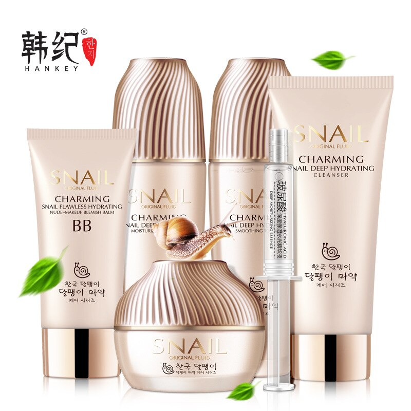 Set de 6 uds de extracto de caracol para el cuidado de la cara, blanqueamiento, hidratación profunda, tratamiento antiarrugas y arrugas para el acné, reparación de belleza y cuidado de la piel