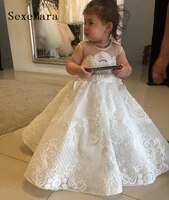 little girls clothes kids dress with lace applique baby girls birthday gown flower girl dress for wedding