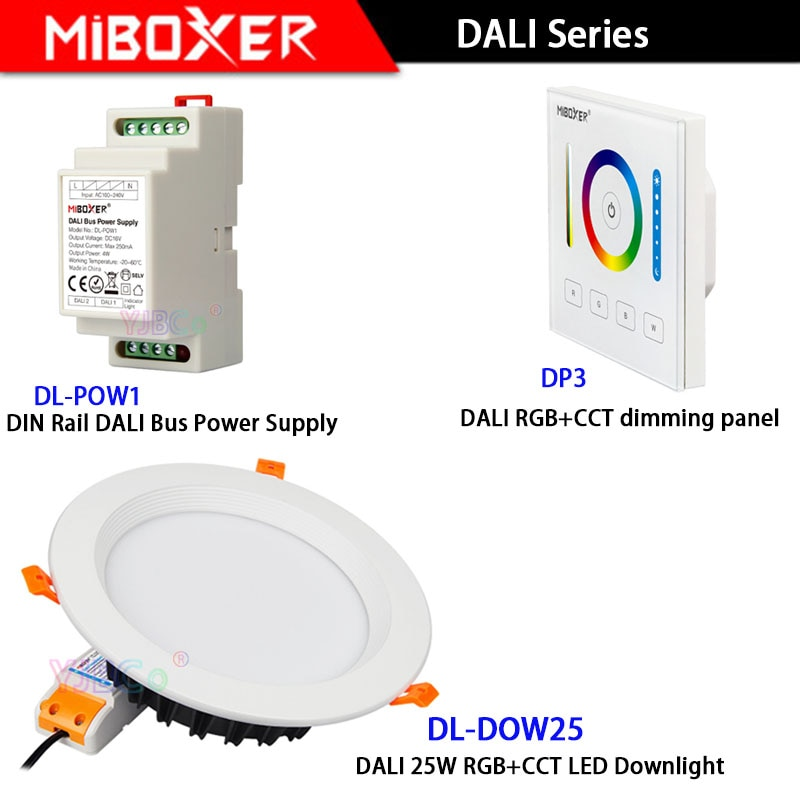 Miboxer DL-DOW25 AC110V 220V DALI RGB 25W + CCT LED Downlight DP3 DALI panel táctil DL-POW1 carril DIN Bus DALI fuente de alimentación