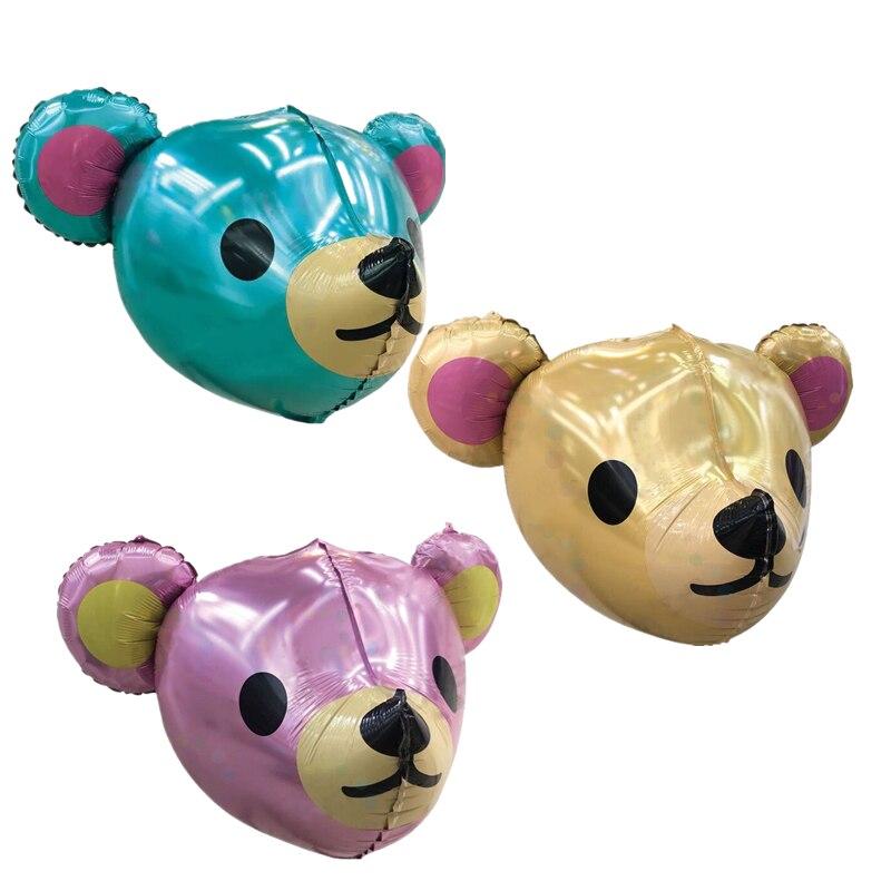 10 قطعة 25 بوصة فتاة الأزرق الوردي الدب رئيس الكرة صبي 4D احباط بالونات عيد ميلاد استحمام الطفل زينة الاطفال اللعب