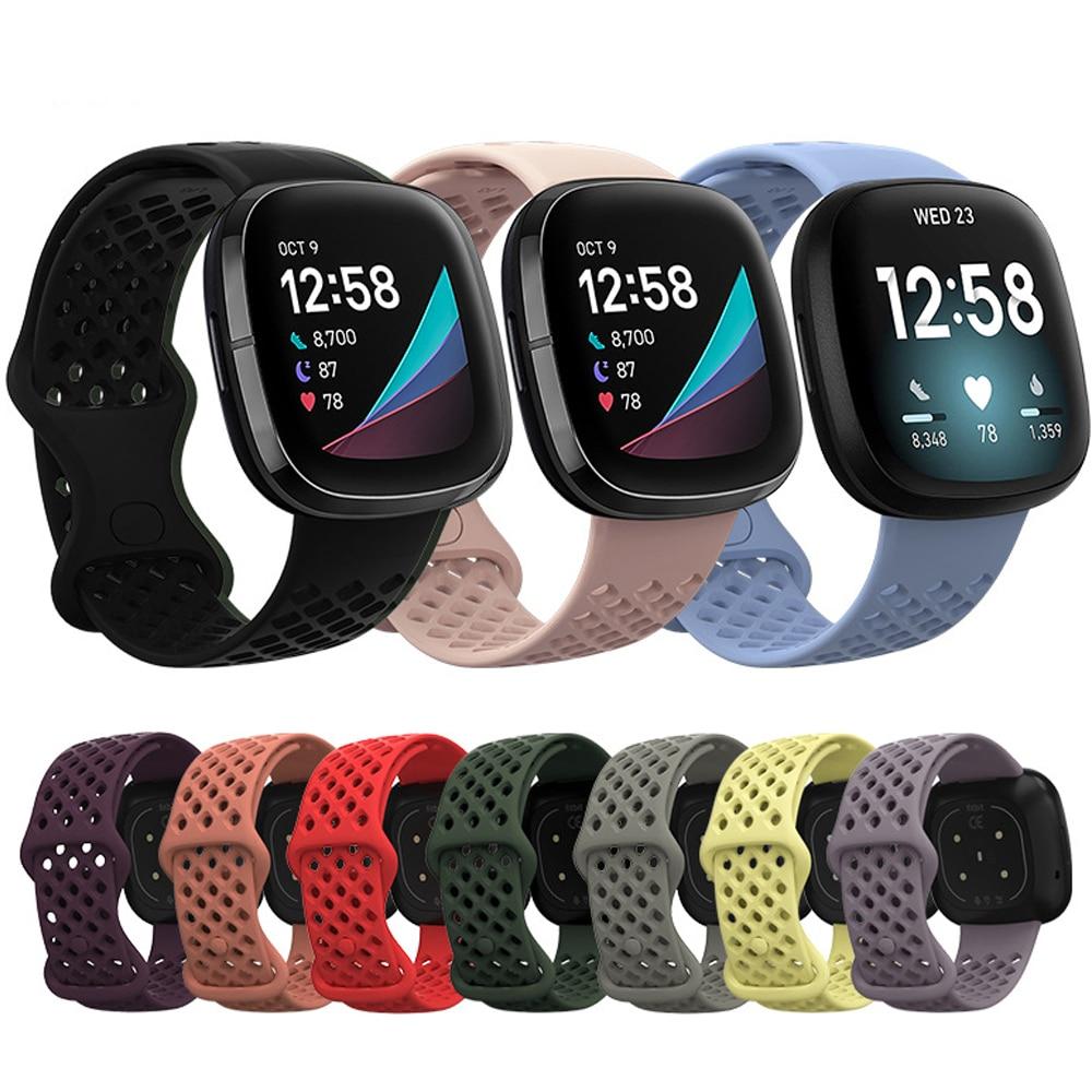 Para fitbit versa 3 silicone dupla cor cinta esportes respirável pulseira banda para fitbit sense / versa3 relógio inteligente