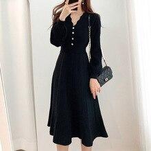 Korean Fashion 2021 Autumn Temperament High Waist Solid Color Simplicity Dress V-neck Long Sleeve El