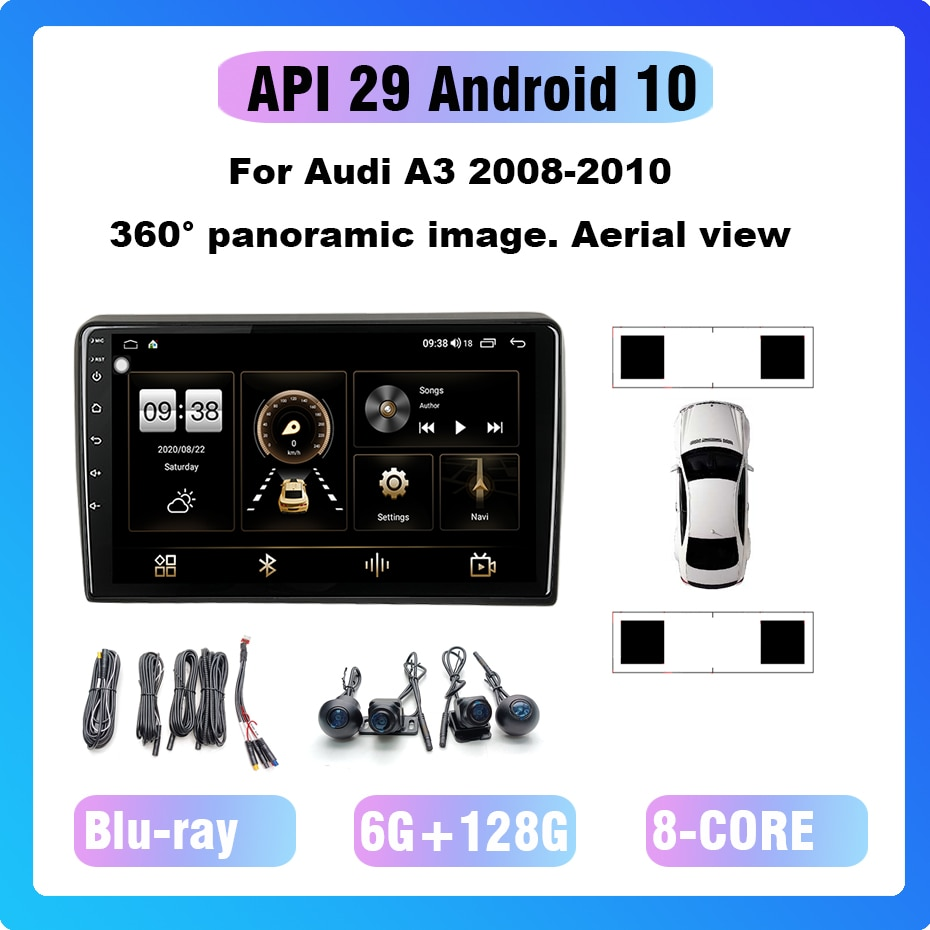 For Android 10 360° panoramic all-in-one machine. Aerial view 8 core Car radio Multimedia player GP