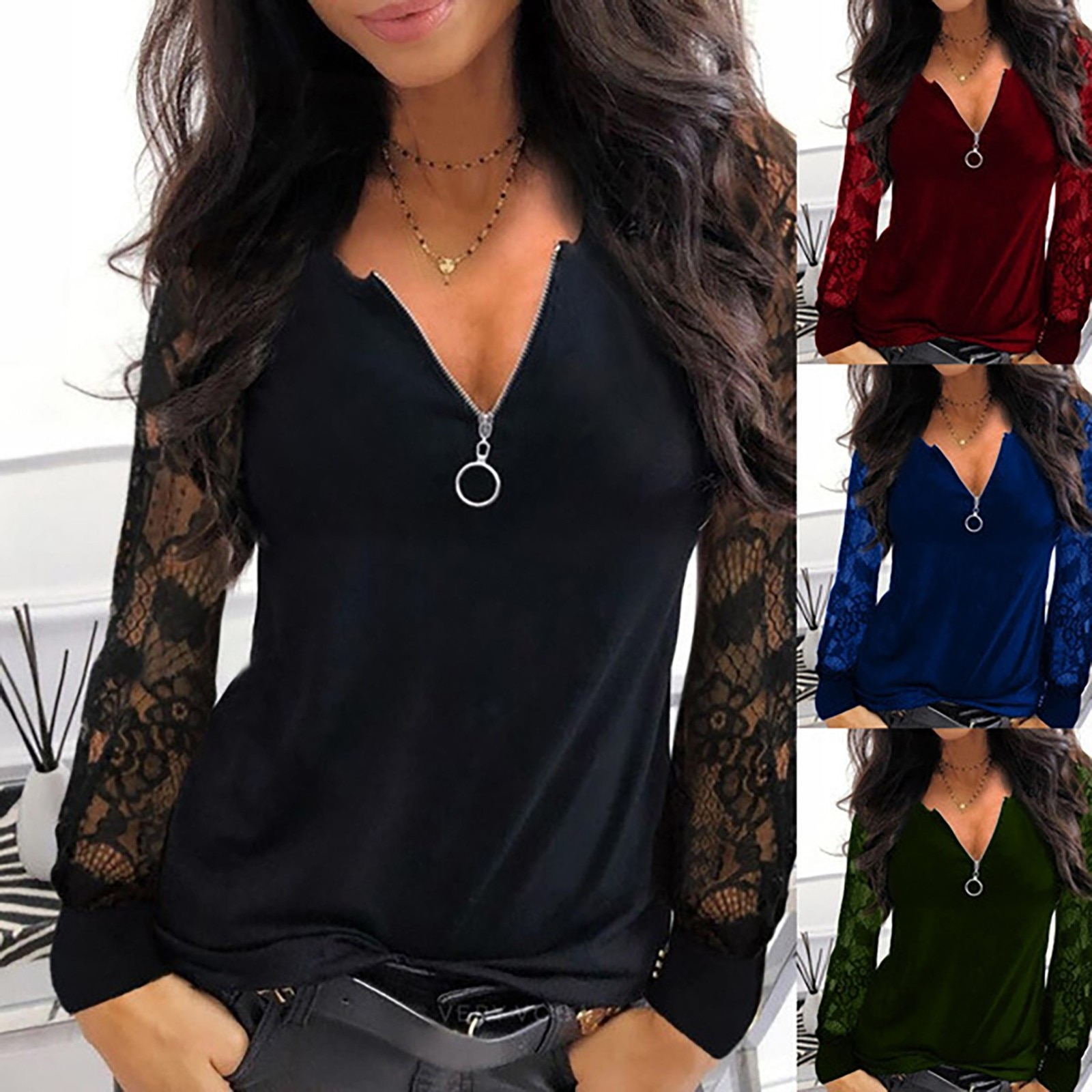Fashion Lace Mesh Blouse Shirt Loose Sexy Zipper V-Neck Tops Winter Casual Ladies Tops Female Women Long Sleeve Blusas Pullover