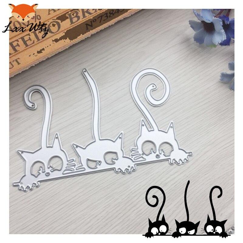 Troqueles de corte de metal de tres gatos para álbum de recortes, troqueles, tarjetas de papel, álbum de fotos decorativo