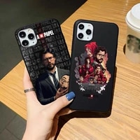 black soft phone case for iphone se 12mini 12pro 11pro max 7 8 plus xr xs max spain tv money heist house paper silicone cover
