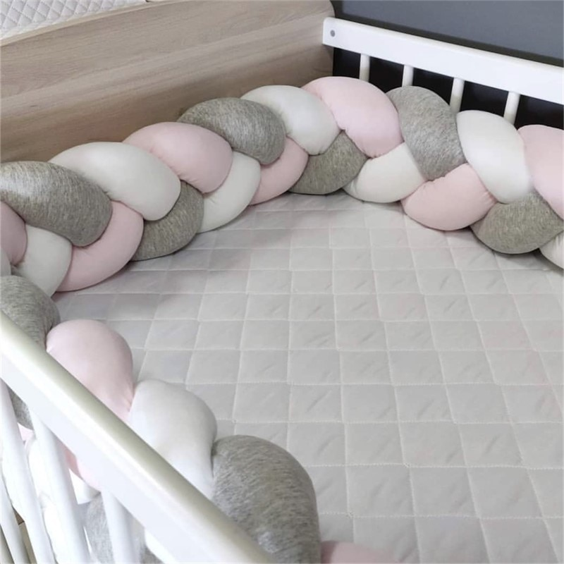1M/2M/3M/4M Baby Bumper Bed Braid Knot Pillow Cushion Bumper for Infant Bebe Crib Protector Cot Bumper Room Decor