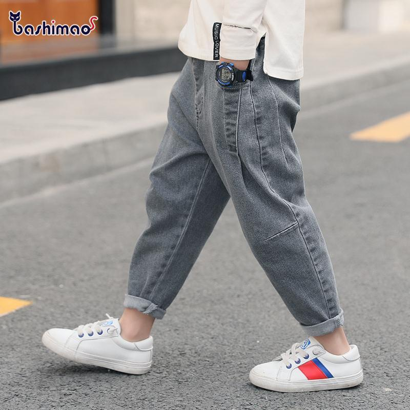 2021 New Boys Girls Cool Jeans Spring And Autumn Trousers Korean Casual Loose Pants Children's Clothing Summer Pants