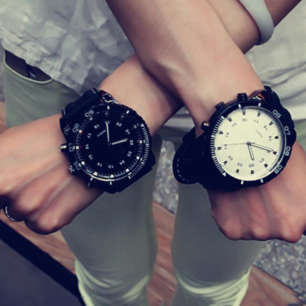 Mode Sport Analog Unisex Paar Uhr Männer Uhr Frauen Quarz Armbanduhr Uhr Uhr Faux Leder Band