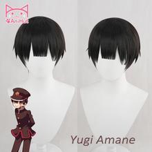 Anihut】- peluca Yugi Amane, pelo negro sintético resistente al calor, para inodoro, hanako-kun