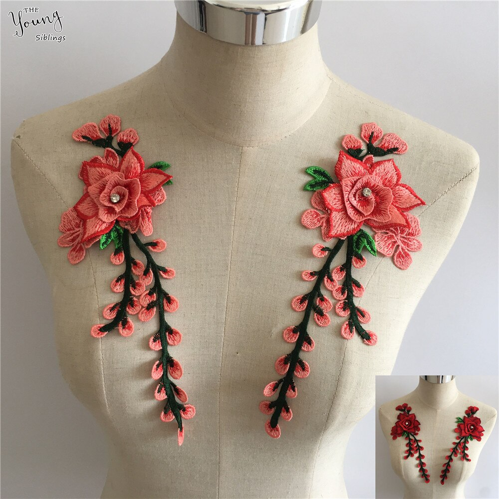 Nuevo bordado de encaje de tela de cuello de flor DIY de encaje de costura de proceso de vestido escote suministros de Decoración Accesorios de ropa