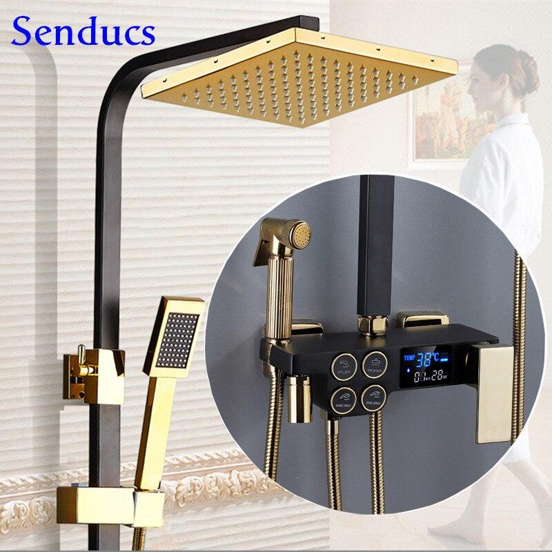 Senducs-طقم دش نحاسي ، صنبور خلاط لحوض الاستحمام ، رأس دش مطري ، ثرموستاتي ، مجموعات دش رقمية ذهبية