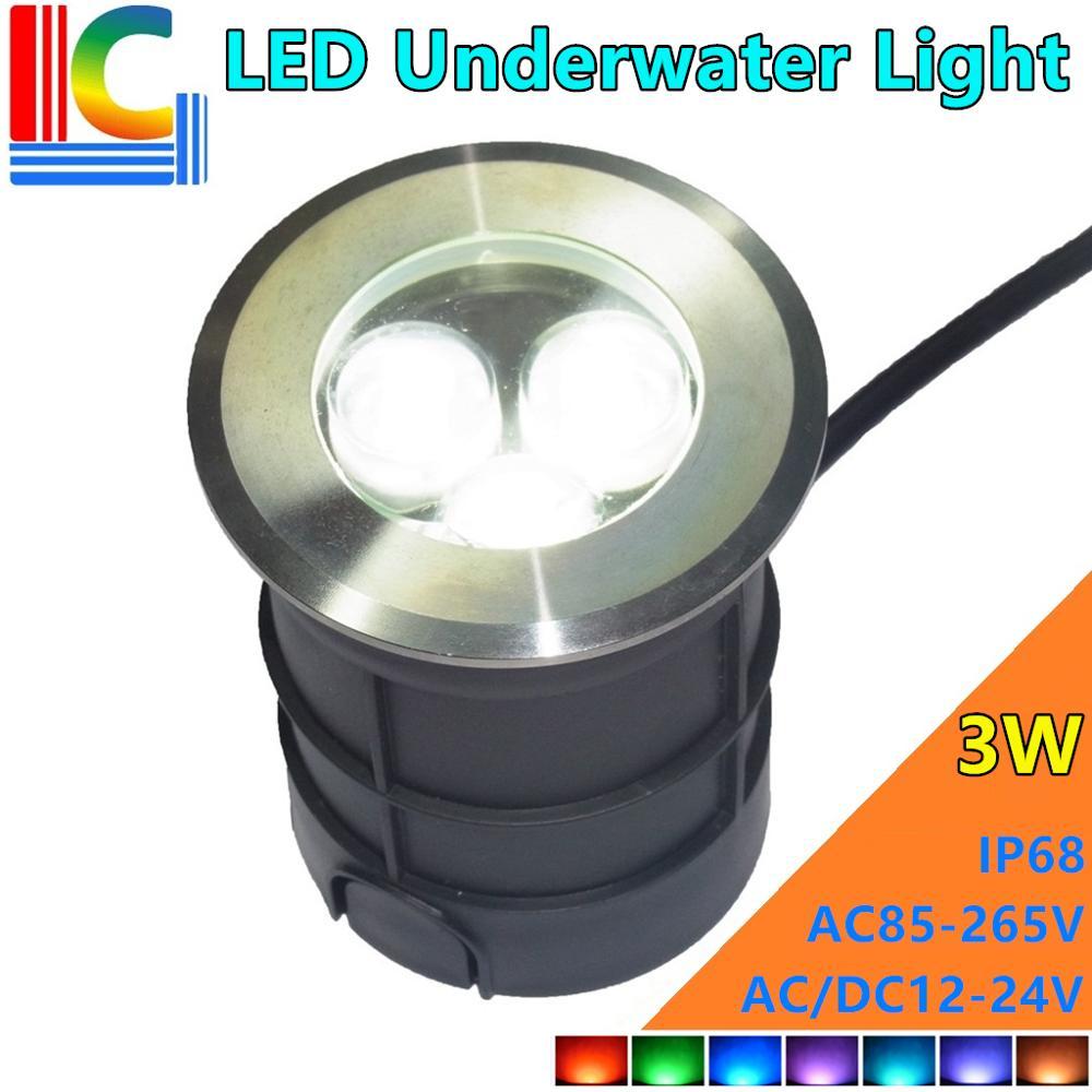 vendas da fabrica 75mm 3w luz conduzida subaquatica ao ar livre 12v ac85 265v a prova