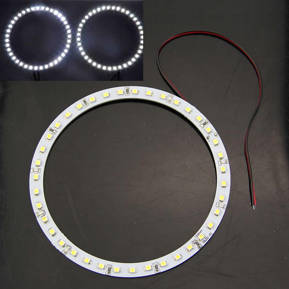 Quente 2 pces 120mm 391210/3528 carro anjo olhos de auréola branco led anel luz farol novo
