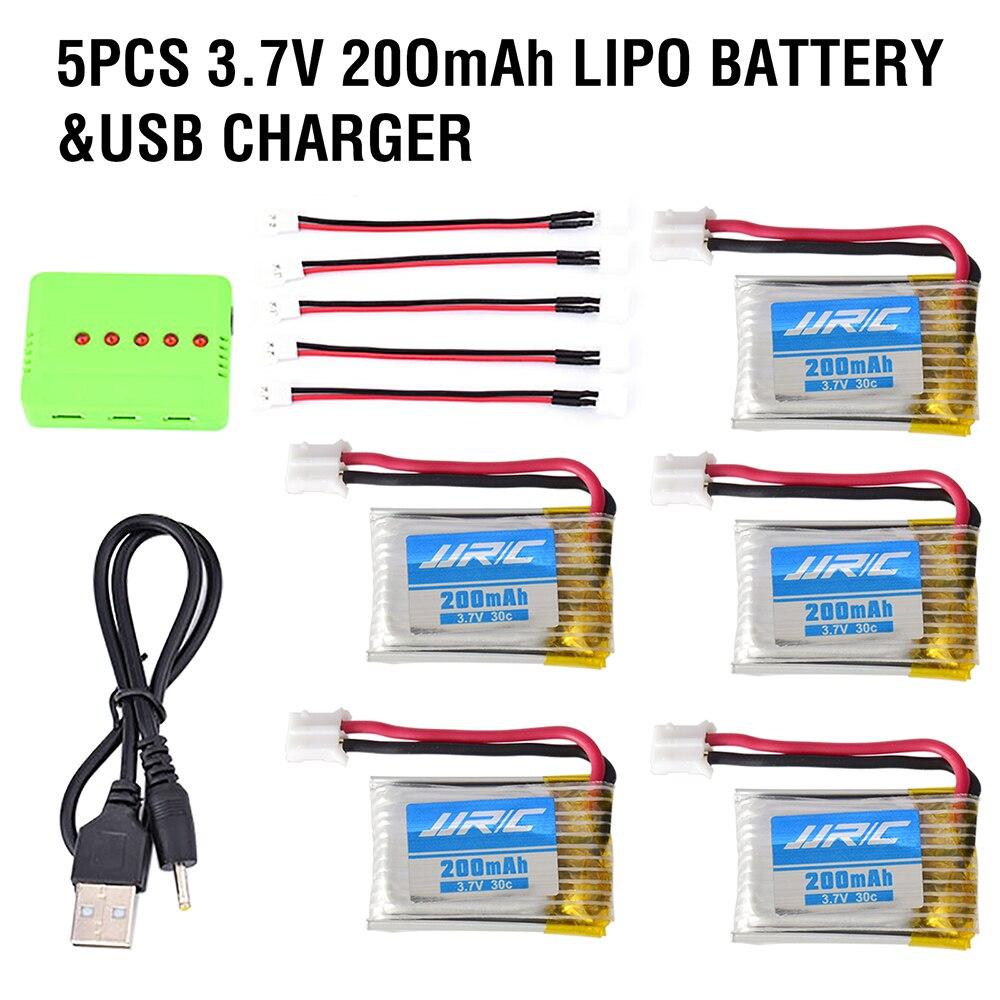 Jjr/c h36 5 peças 3.7v 200mah 30c lipo bateria & carregador usb para goolrc t36 eachine e010 e011 e012 ed 010 rc drone