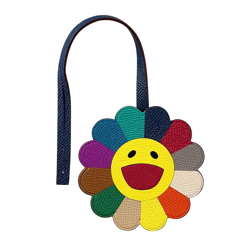 Brand New Sun Flower Bag Charm Real Cow Leather Key Chains Color Flower Handbag Ornament Fashion Car