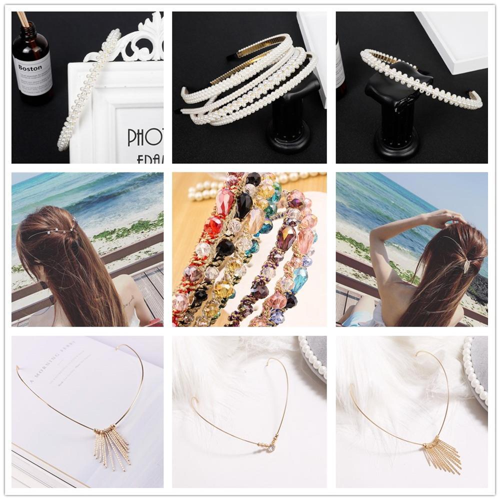 Lujosa diadema de aro de pelo con bisel y perlas de diamantes de imitación, accesorios para diadema, corona de novia para boda, tocado