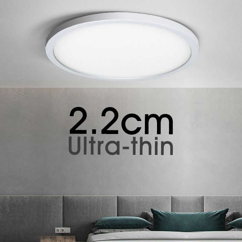 Ultra-thin LED Ceiling Lamp AC85V-265V 18W 24W 36W 48W Modern Panel Light Fixture Surface Mount For Living Room Kitchen Bathroom