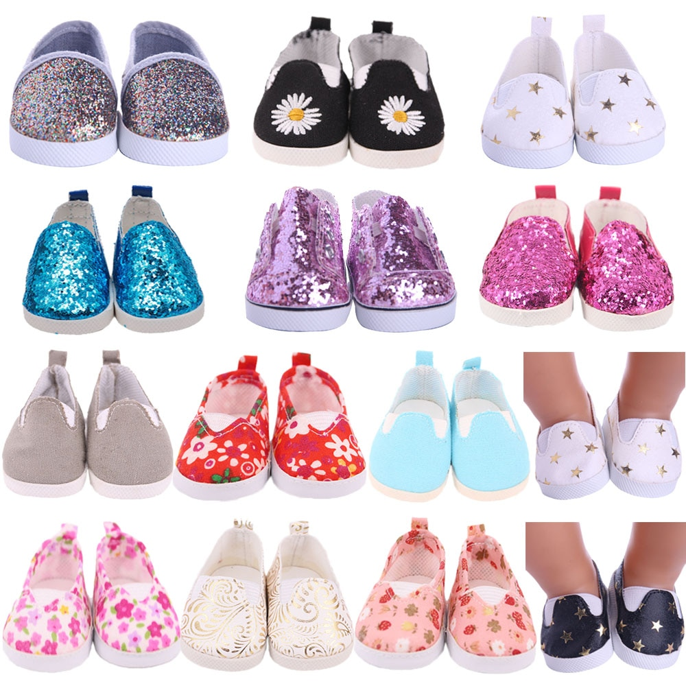 7Cm Doll Shoes Boots Baby Sequins Canvas Shoes For 43Cm Baby New Born Reborn Doll&18 Inch American For Our Generation Girl`s Toy недорого