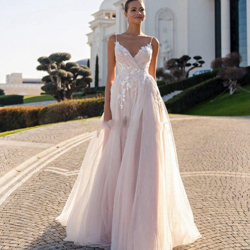 Vestido De princesa para novia, Vestido de novia De playa con cuello en V, tirantes finos bohemios, apliques de tul blanco, De línea A, para fiesta de boda