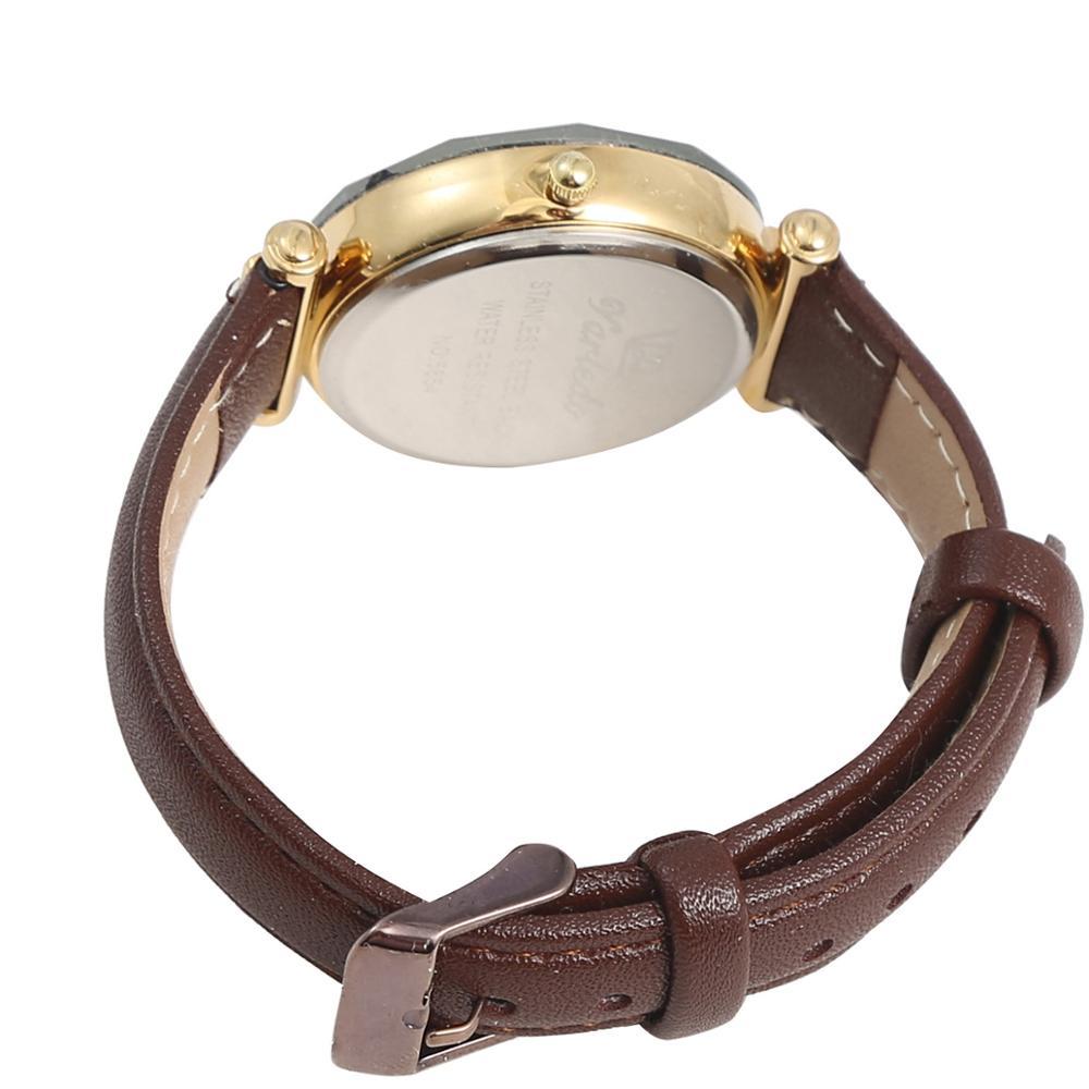 VARLEDO Leather Wrist Watches geometric Surface Quartz Ladies Fashion Girl Watch enlarge