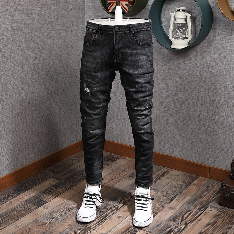 Модные мужские джинсы в Корейском стиле ретро Черные Серые Эластичные зауженные рваные джинсы мужские винтажные дизайнерские хлопковые дж...