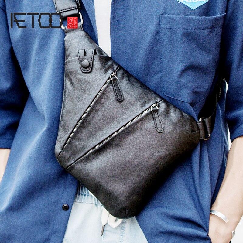 AETOO Leather shoulder bag, men's slant bag, men's fashion bag, trend chest bag, casual men's bag