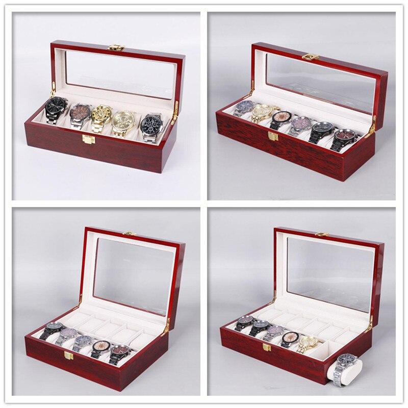 Grades de Madeira Caixa de Relógio Caixa de Jóias Case de Relógio Organizador para Relógios Dia dos Namorados Presente de Aniversário 12 Exibição Titular Masculino 5 – 6 8 10