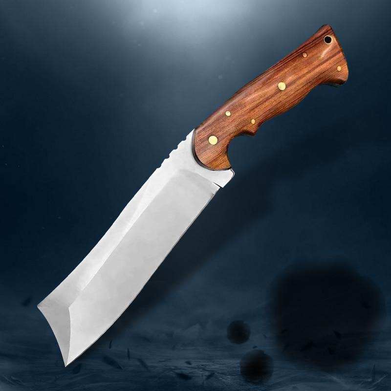أحدث نمط ATS-34 الصلب الصيد سكين كامل تانغ ثابت سكين مع غمد التخييم بقاء سكين في الهواء الطلق أداة