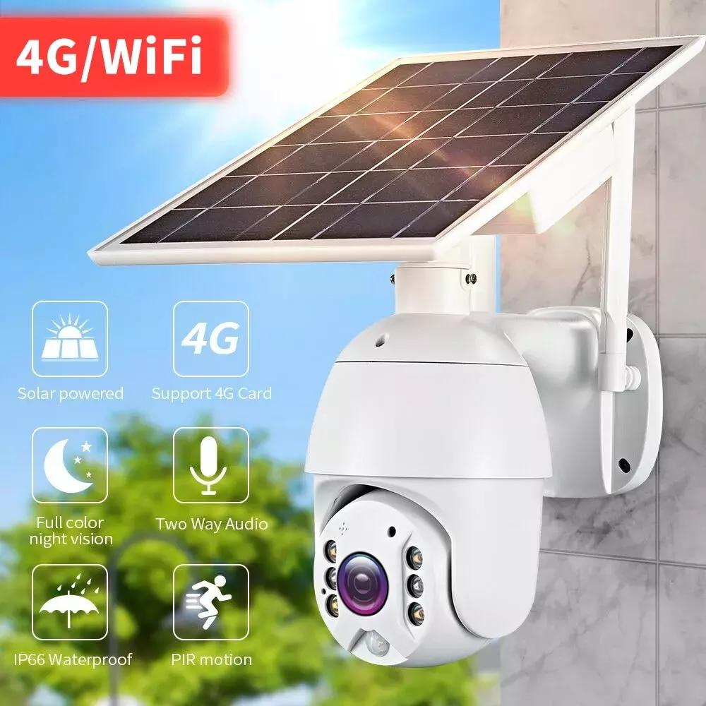 Hontuec-كاميرا IP خارجية تعمل بالطاقة الشمسية 4G PTZ ، 360 CCTV ، رؤية ليلية ، صوت ثنائي الاتجاه ، لوحة شمسية ، مراقبة خارجية
