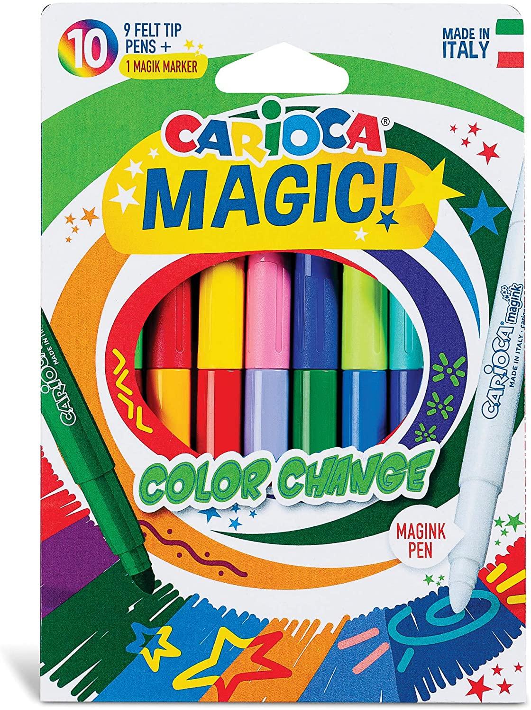 Carioca Color-Changing Magic Fiber Collet, 9 Colors + 1 Color Changer White Pen, felt-tip pen