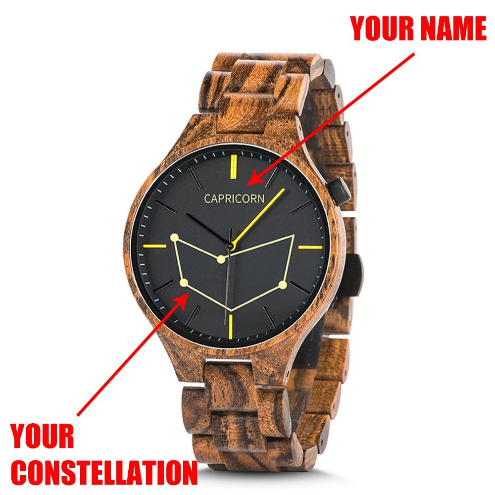مخصصة كوكبة خشبية ووتش إضافة اسم شخصية Wristwatche نقش هدايا عيد الميلاد relogio masculino مع مربع L-S27