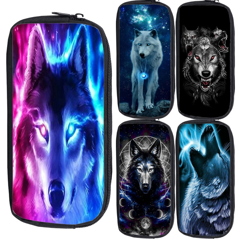 High Quality 3D Animal Wolf Pencil Cases Large Capacity Pencil Bag School Supplies Pencil Pouch Canv