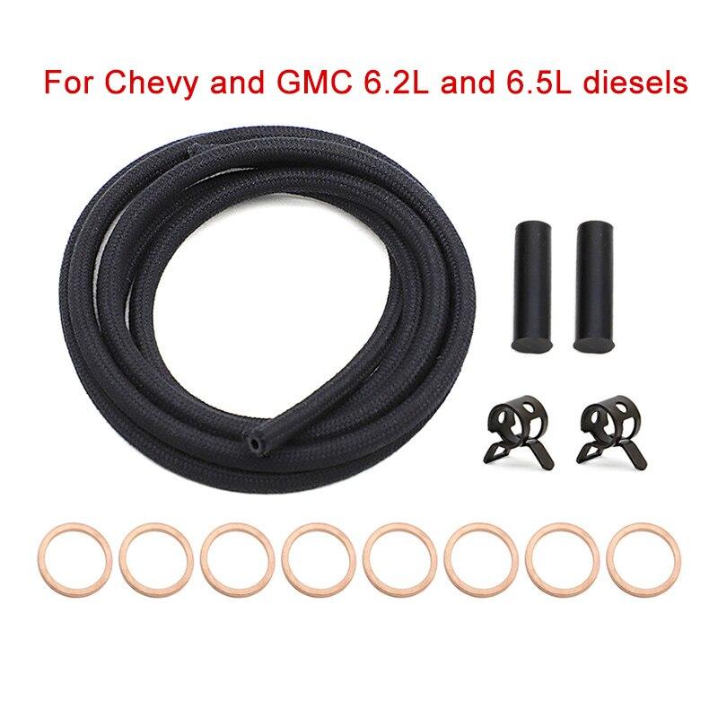"""Para 6,2 L 6,5 L Chevy GMC GM Diesel Turbo inyector de combustible instalación retorno Bleed Line Kit 72 """"183cm coche inyectores de combustible accesorio"""