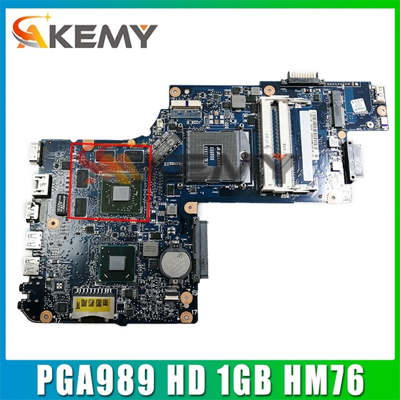 AKEMY العلامة التجارية الجديدة H000052720 اللوحة الأم لأجهزة الكمبيوتر المحمول توشيبا L850 C850 PGA989 HD 1GB HM76 اللوحة الرئيسية يعمل